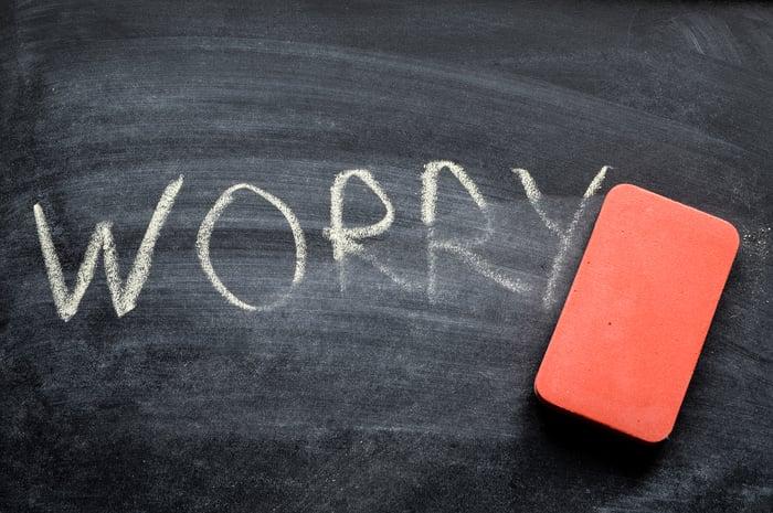 Worry written on chalkboard with eraser nearby.