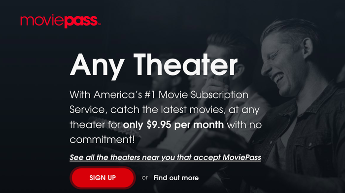 MoviePass homepage showing $9.95 a month plan for unlimited movies.