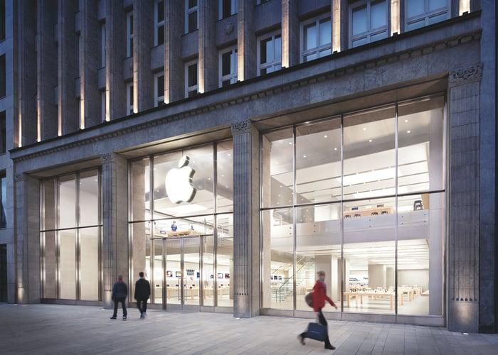 People walking outside an Apple Store
