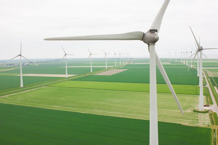 Wind turbines on a farm.