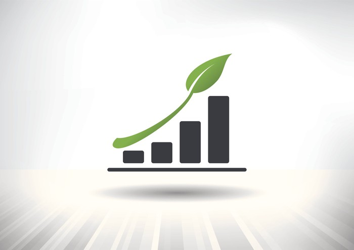 A bar chart showing growth with a branch of a plant representing the trend line.