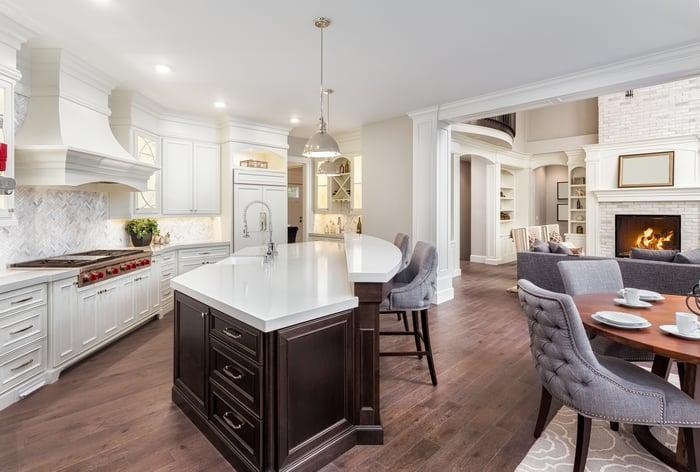 Luxury furniture filled interior of apartment.