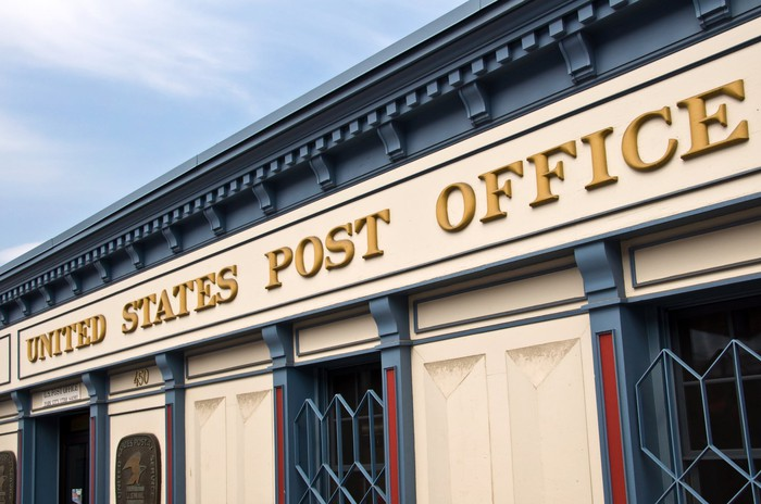 Front of a post office