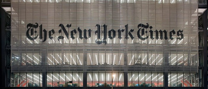 Evening view of the New York Times' headquarters exterior.