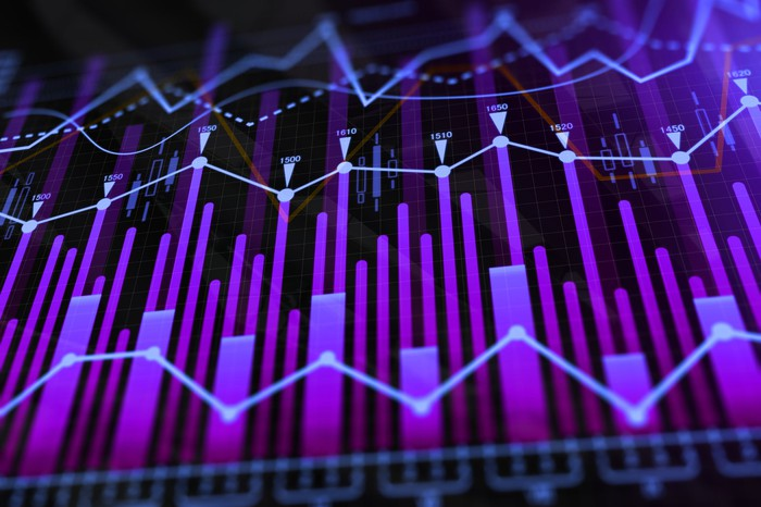 Abstract design of stock graphs.