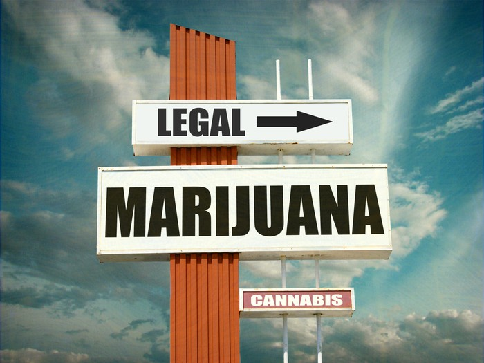 Three signs, one that says Legal and points to the right, one that says marijuana, and one that says cannabis, all against a blue sky with clouds.