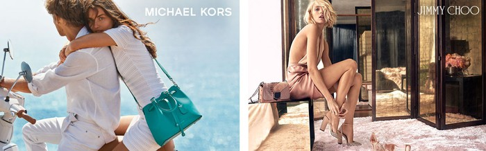 Two photos of models posing with a Michael Kors handbag and Jimmy Choo shoes