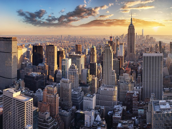 Aerial view of Manhattan New York City at sunset