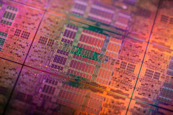 A wafer of Intel processors.