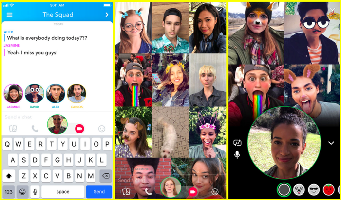 Three photos in a photo grid show off Snapchat's group video chat