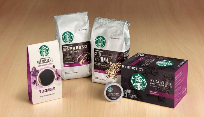 Starbucks packaged coffee and K-Cups