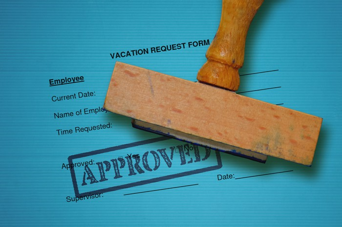 Vacation request form with an approved stamp