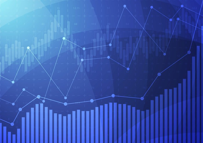 Stock graphs on a blue background.