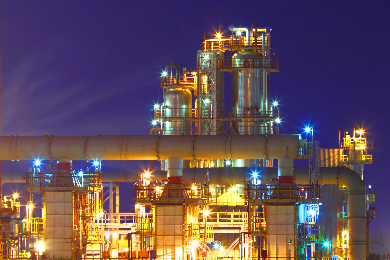 Natural gas processing facility at night.