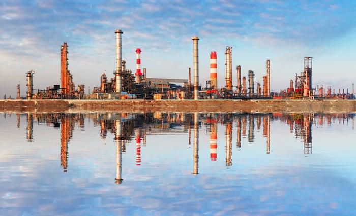 Oil refinery.