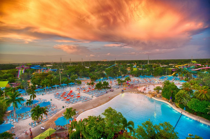 Sunset over a SeaWorld park