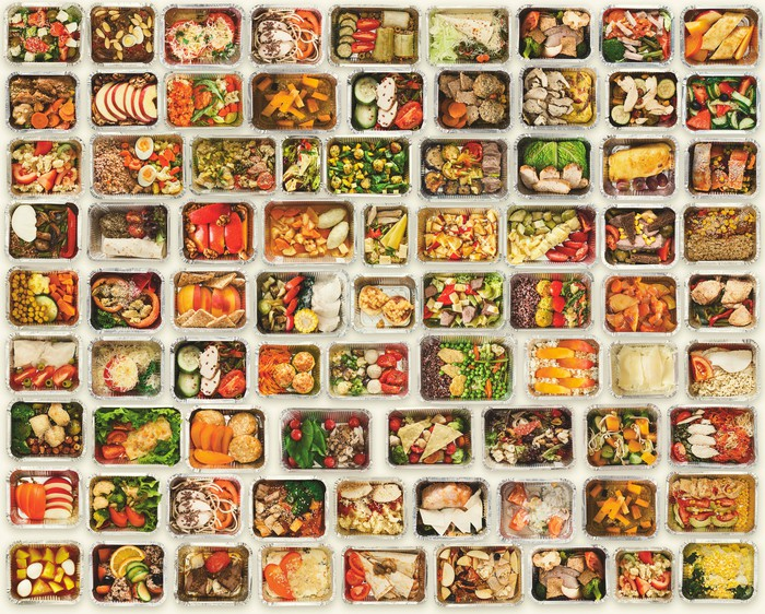 Fresh foods separated into small containers