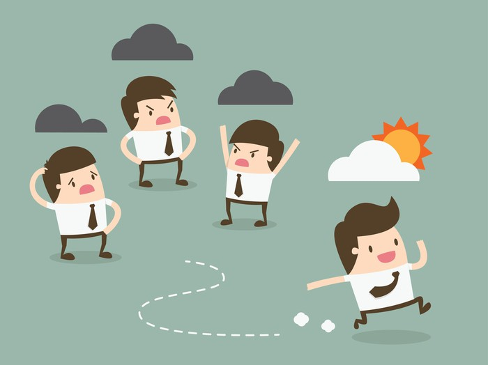 Illustration of three people frowning, with clouds overhead, while one happy person with a sun and cloud overhead is running.