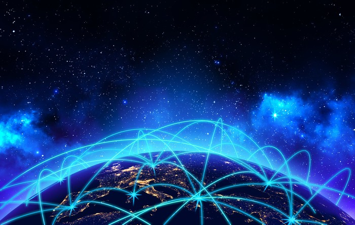 Illustration of telecommunications traveling around the world.