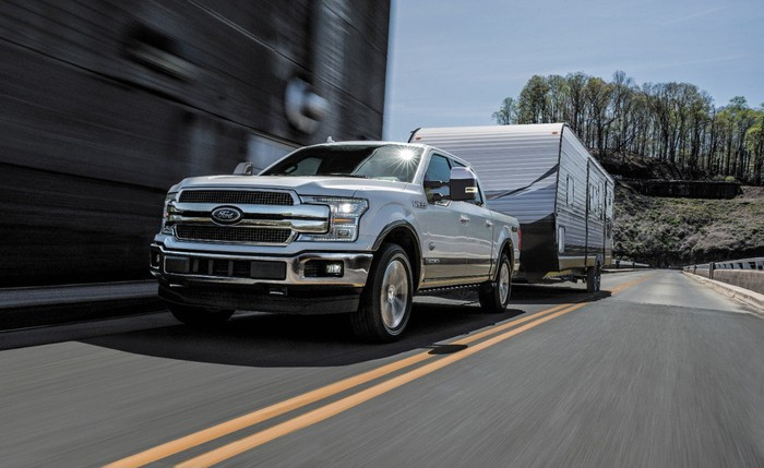 2018 F-150 Power Stroke Diesel towing a camper.