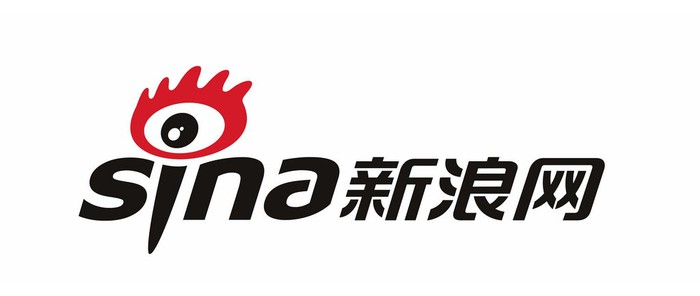Sina text logo in black and red.