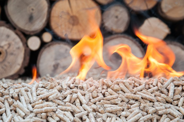 Burning wood pellets.