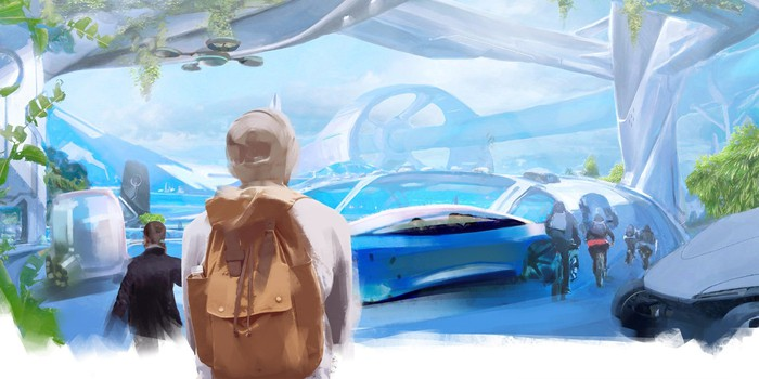 Rendering of future-scape featuring multiple modes of transportation, including an automobile in the foreground.