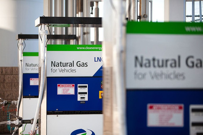 Natural gas pumps at a Clean Energy Fuels station.