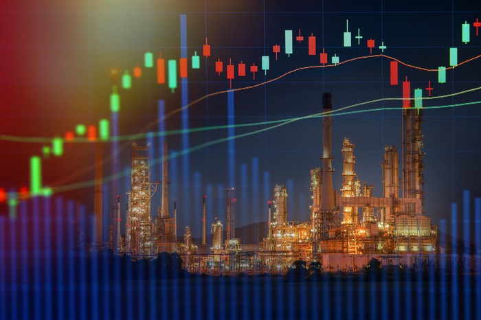 An ascending stock price chart overlaid on top of a picture of an oil and gas refinery.