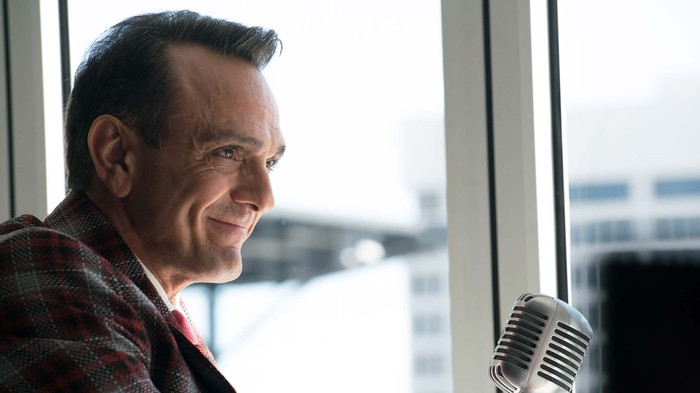 Close-up shot of a smiling Hank Azaria in the role of baseball player Jim Brockmire.