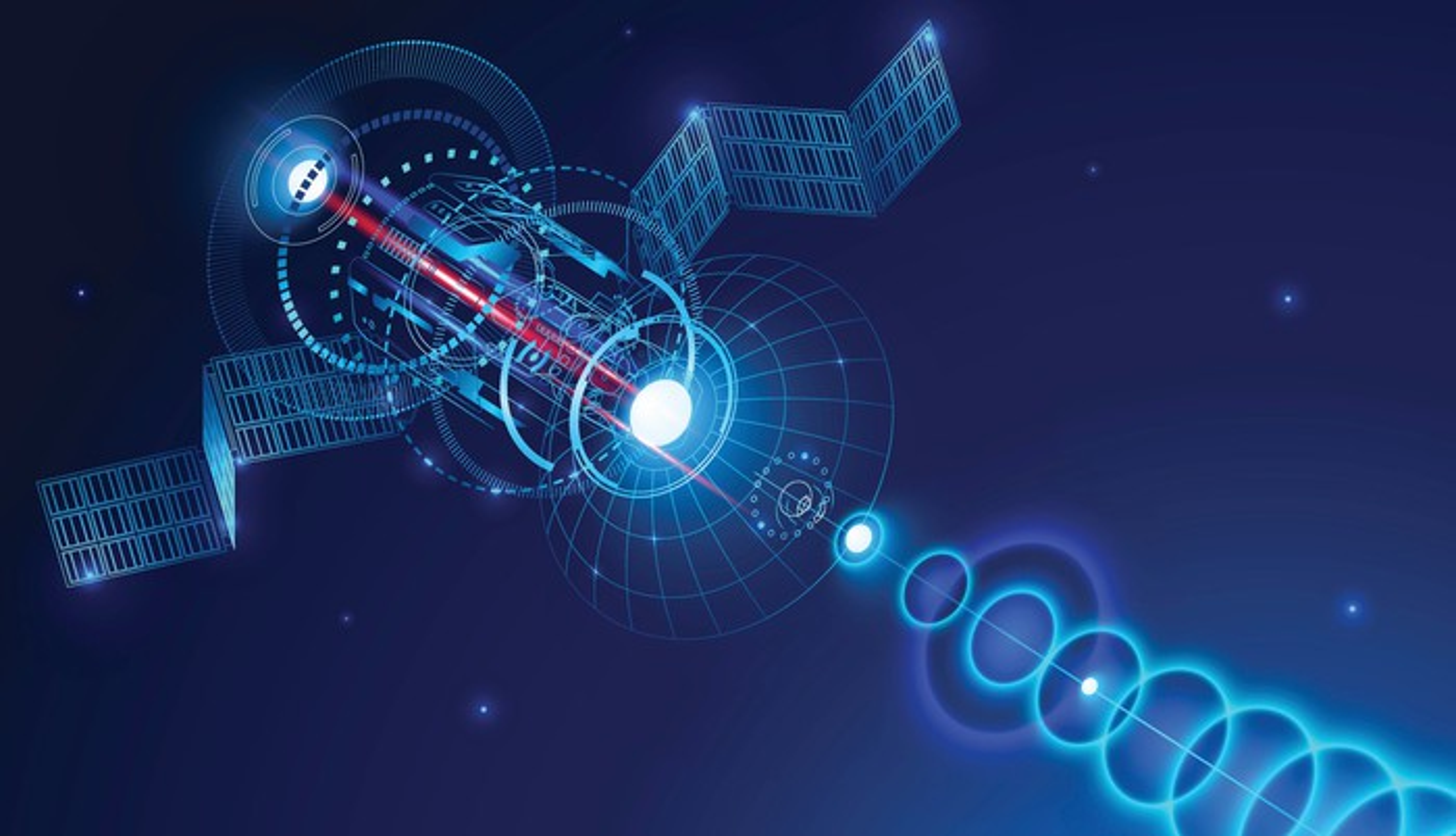 Satellite in space, beaming back to something