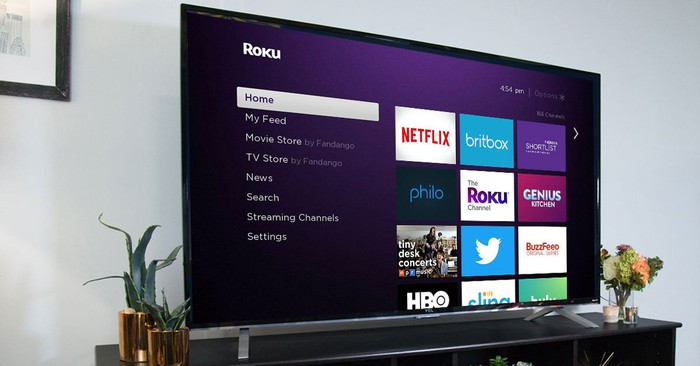 Roku home screen on a television.