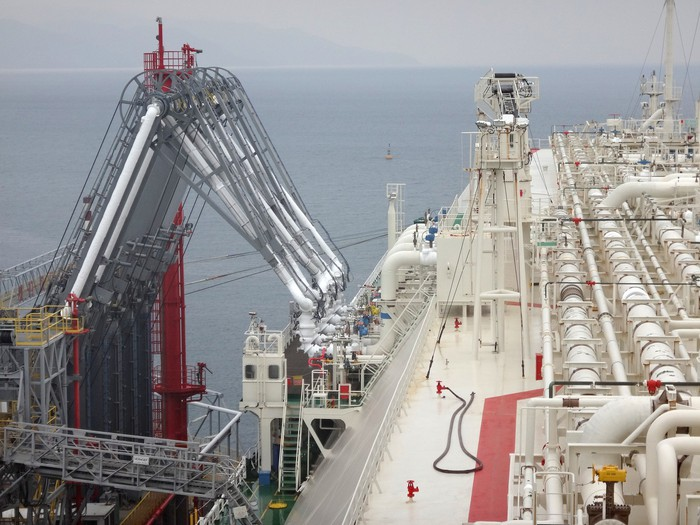 LNG cargo ship at a loading facility.