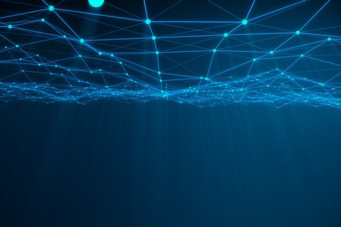 Illuminated lines on a blue background illustrating abstract cloud networking concept.