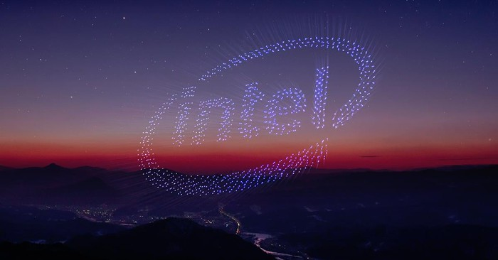 Drones forming Intel insignia in the sky.