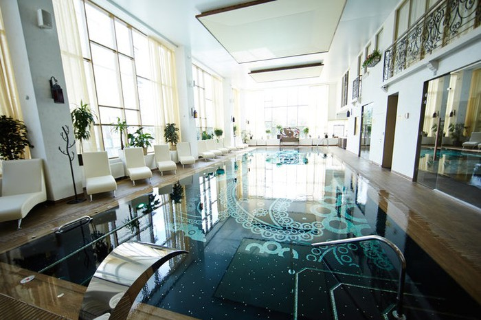 Indoor swimming pool at upscale time share resort.