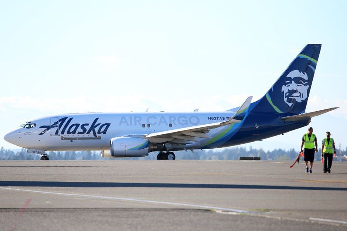 View of Alaska cargo freighter on tarmac.