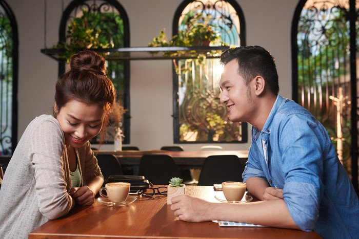 An Asian couple on a date.