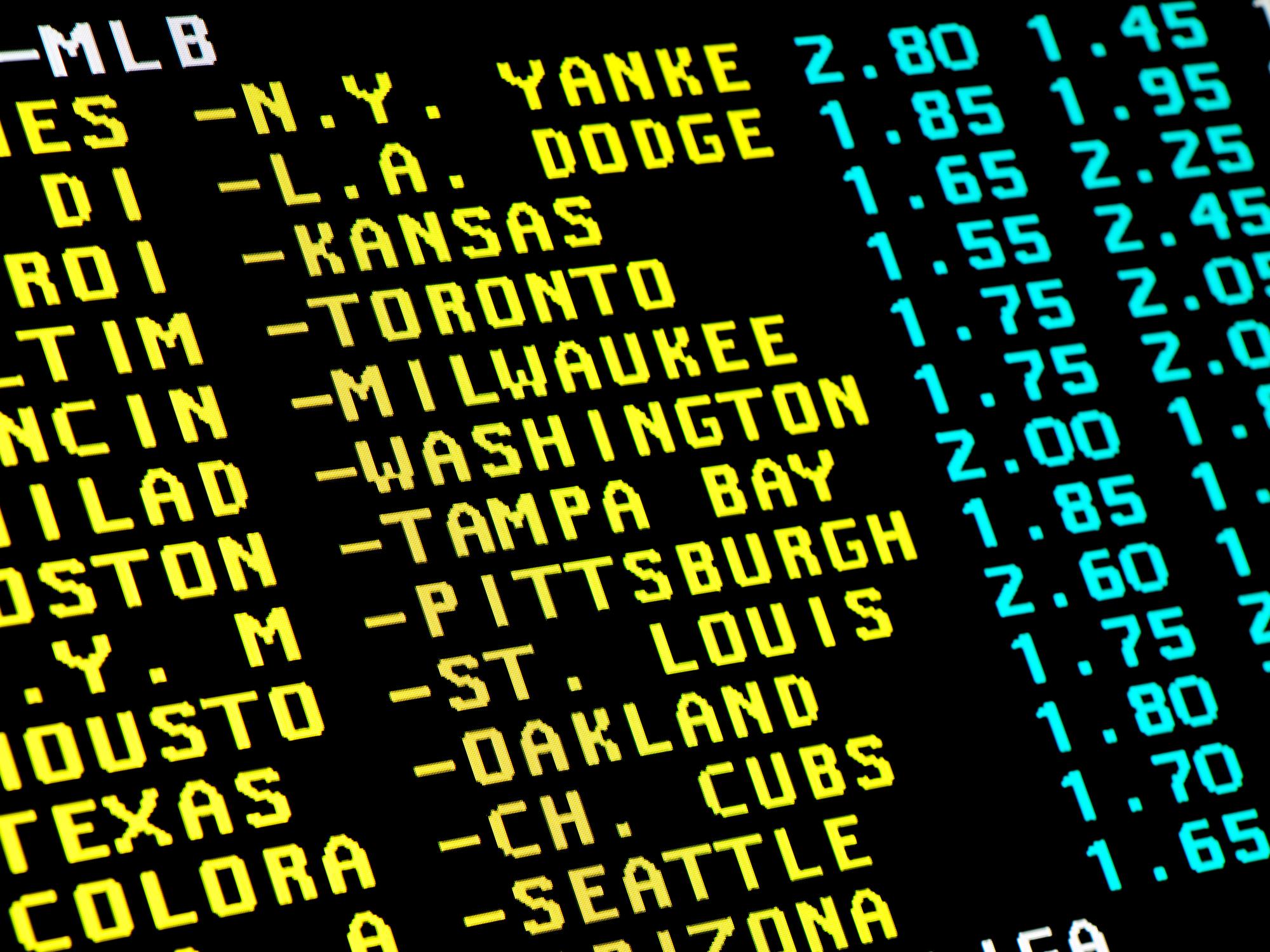 Sports betting screen