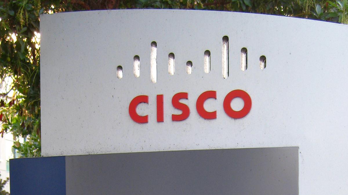 The Cisco logo on a sign.