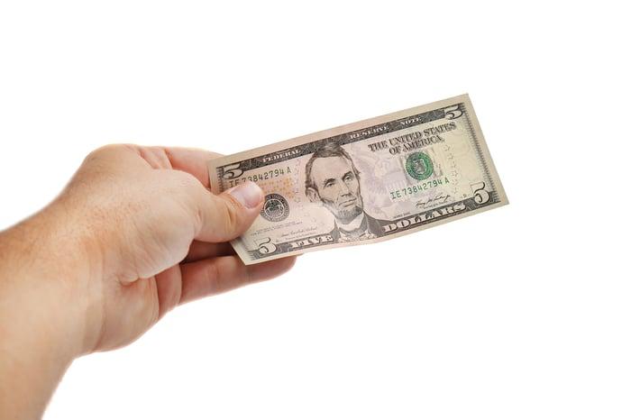 Hand holding a five dollar bill.