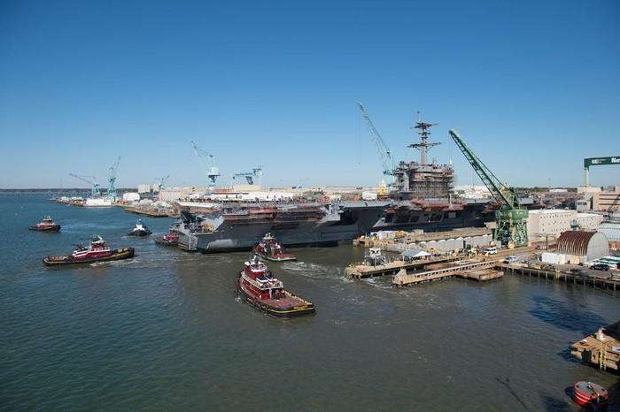 Carrier coming out of dry dock