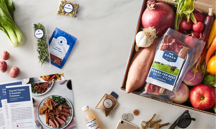 A selection of ingredients and recipe cards from Blue Apron