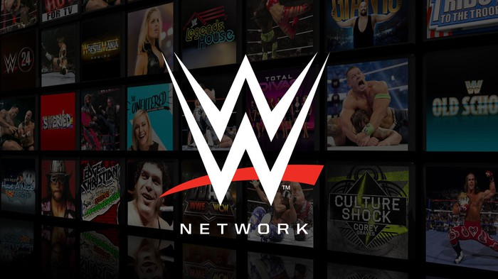 WWE Network logo on top of darkened set of screens of wrestling entertainment.