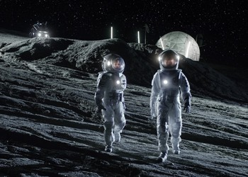Astronauts walking on Moon near Moon base