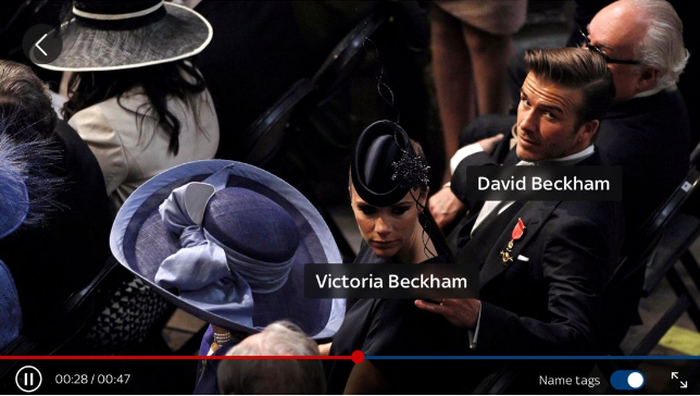 "David and Victoria Beckham dressed up with their names under their images -- an example of how Sky News' ""Who's Who Live"" service works."