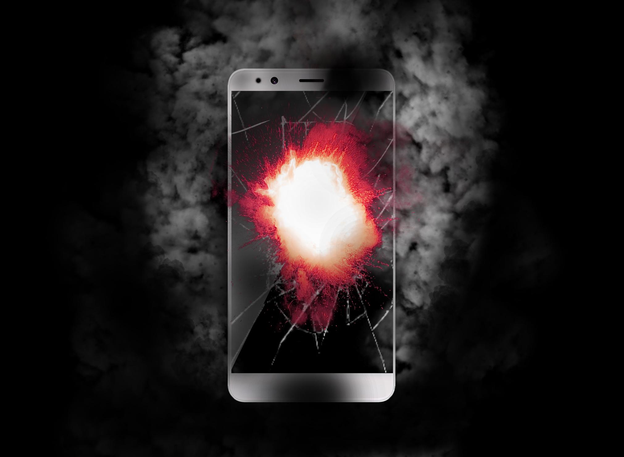 Burning cellphone