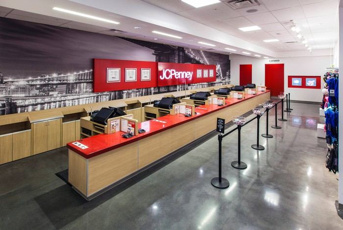 Checkout counter at a JCPenney store.