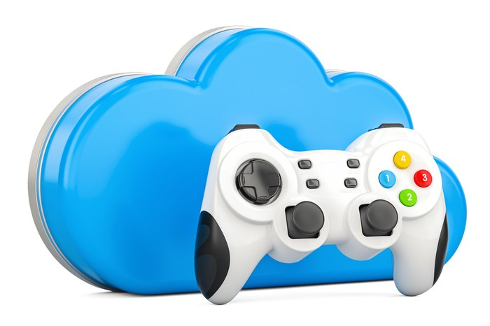 A white video game controller with a blue cloud behind it.