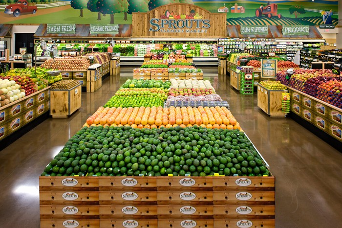 The interior of a Sprouts store featuring rows of fresh produce.